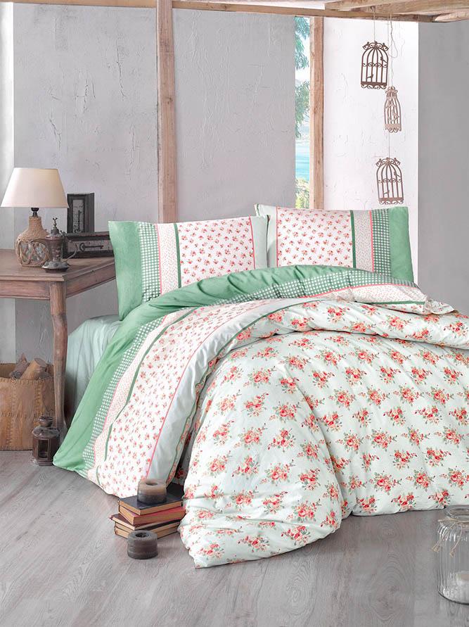 Купить Комплекты постельного белья Altinbasak, Постельное белье Ahsen Цвет: Зеленый (2 сп. евро), Турция, Бязь