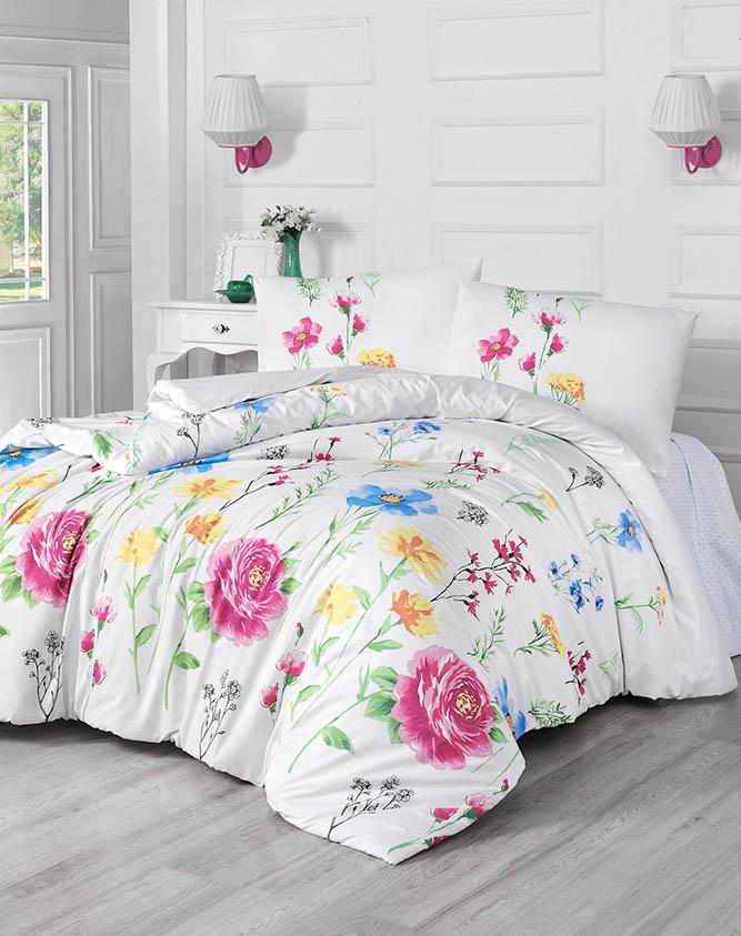 Купить Комплекты постельного белья Altinbasak, Постельное белье Botanic (2 сп. евро), Турция, Белый, Бордовый, Бязь