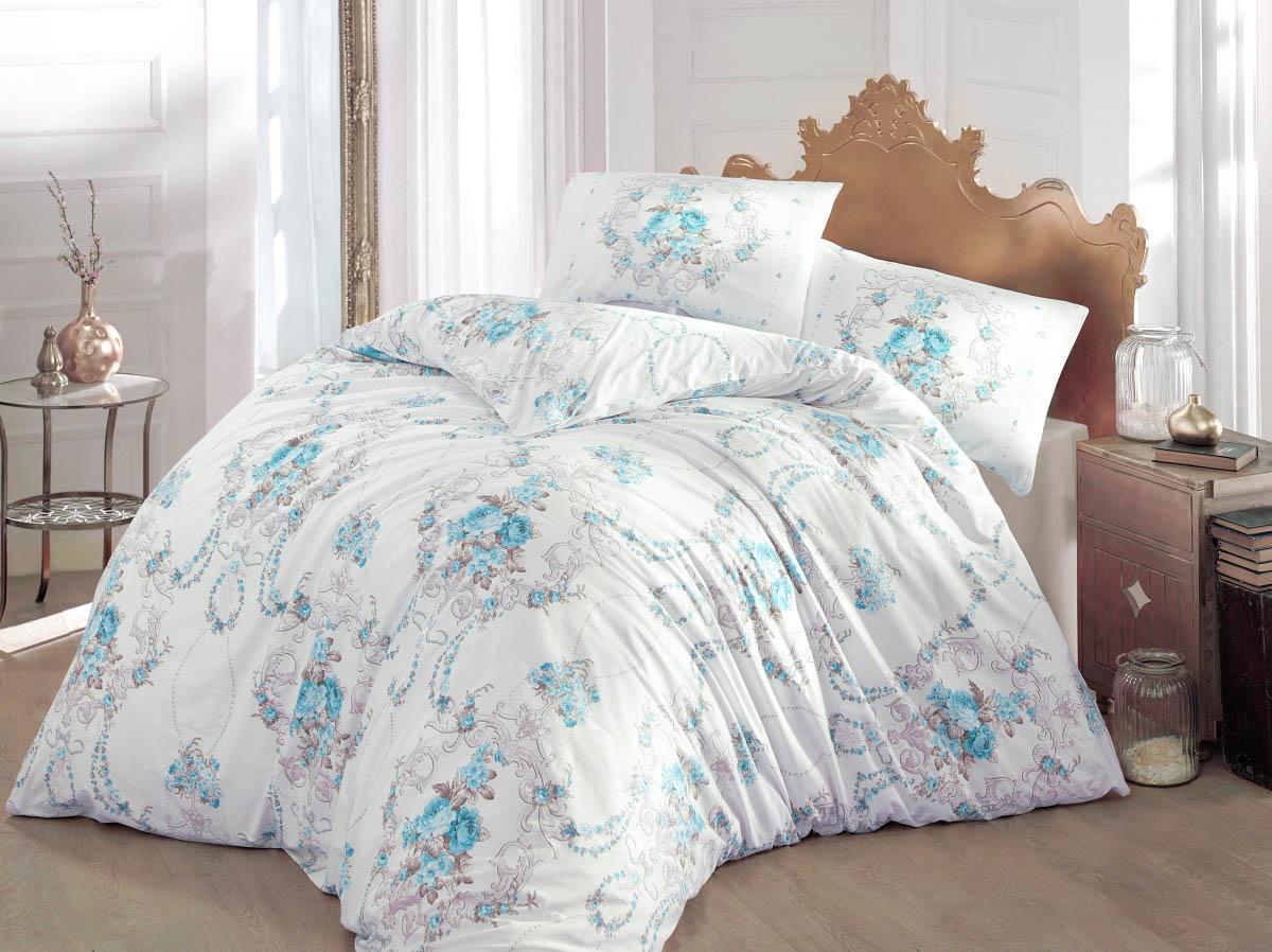 Купить Комплекты постельного белья Altinbasak, Постельное белье Admire Цвет: Бирюзовый (2 сп. евро), Турция, Белый, Голубой, Бязь