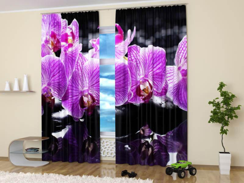 Шторы StickButik Фотошторы Контрастные Орхидеи
