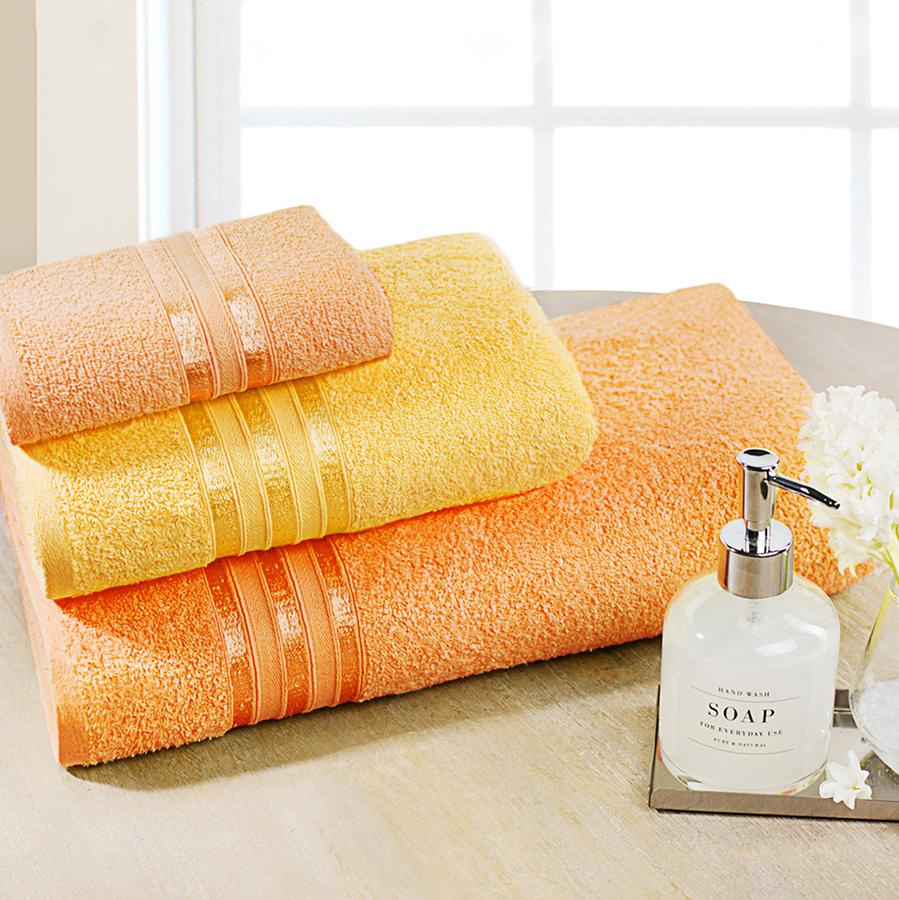 Полотенца Dome Набор из 3-х полотенец Harmonika Цвет: Желтый, Оранжевый (33х50 см, 50х80 см, 70х130 см) оранжевый prime м 50х90 70х130 в коробке набор полотенец фиеста