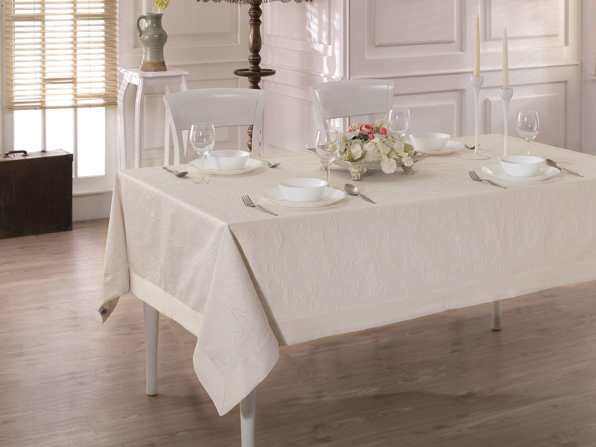 Купить Скатерти и салфетки Karna, Скатерть Linen V2 (160х220 см), Турция, Жаккард