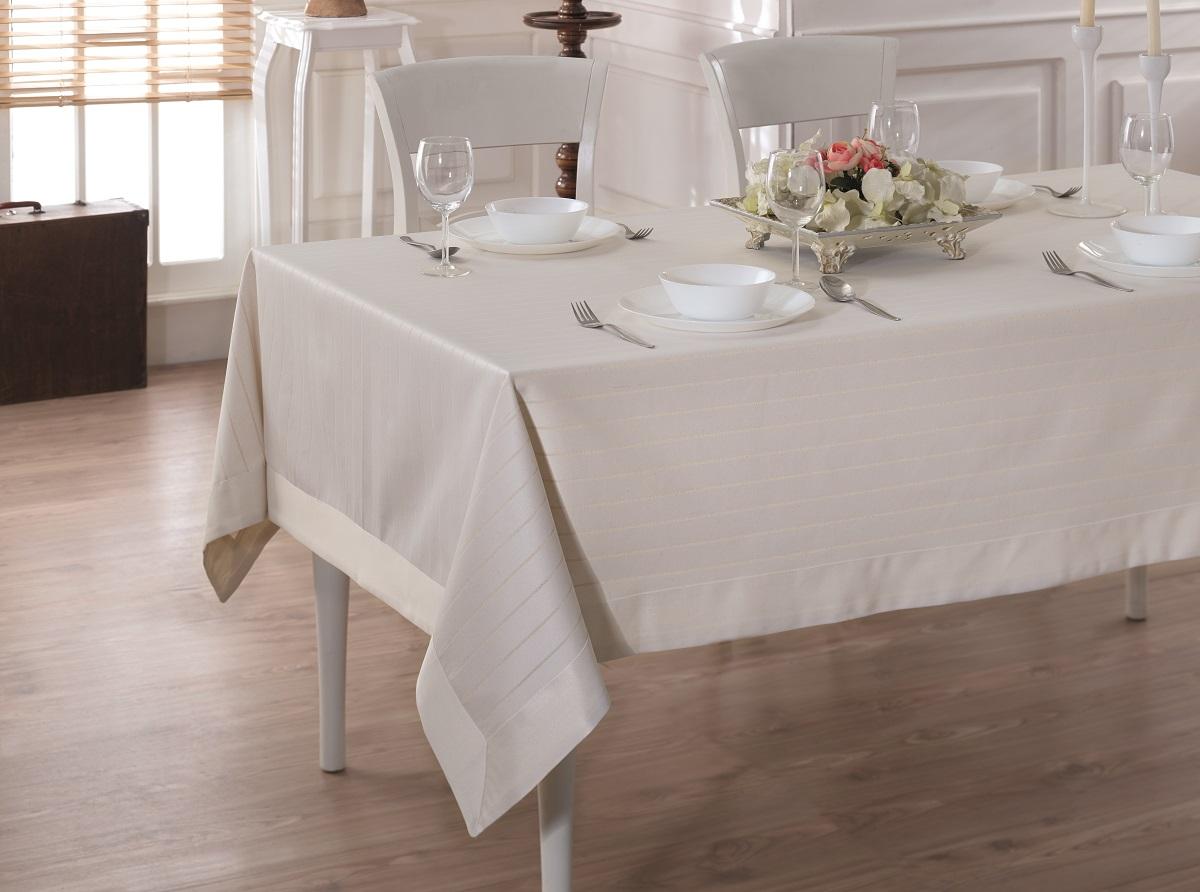 Купить Скатерти и салфетки Karna, Скатерть Linen V3 (160х220 см), Турция, Жаккард