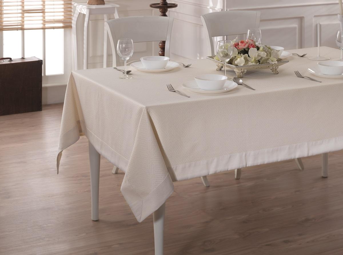 Купить Скатерти и салфетки Karna, Скатерть Linen V4 (160х220 см), Турция, Жаккард
