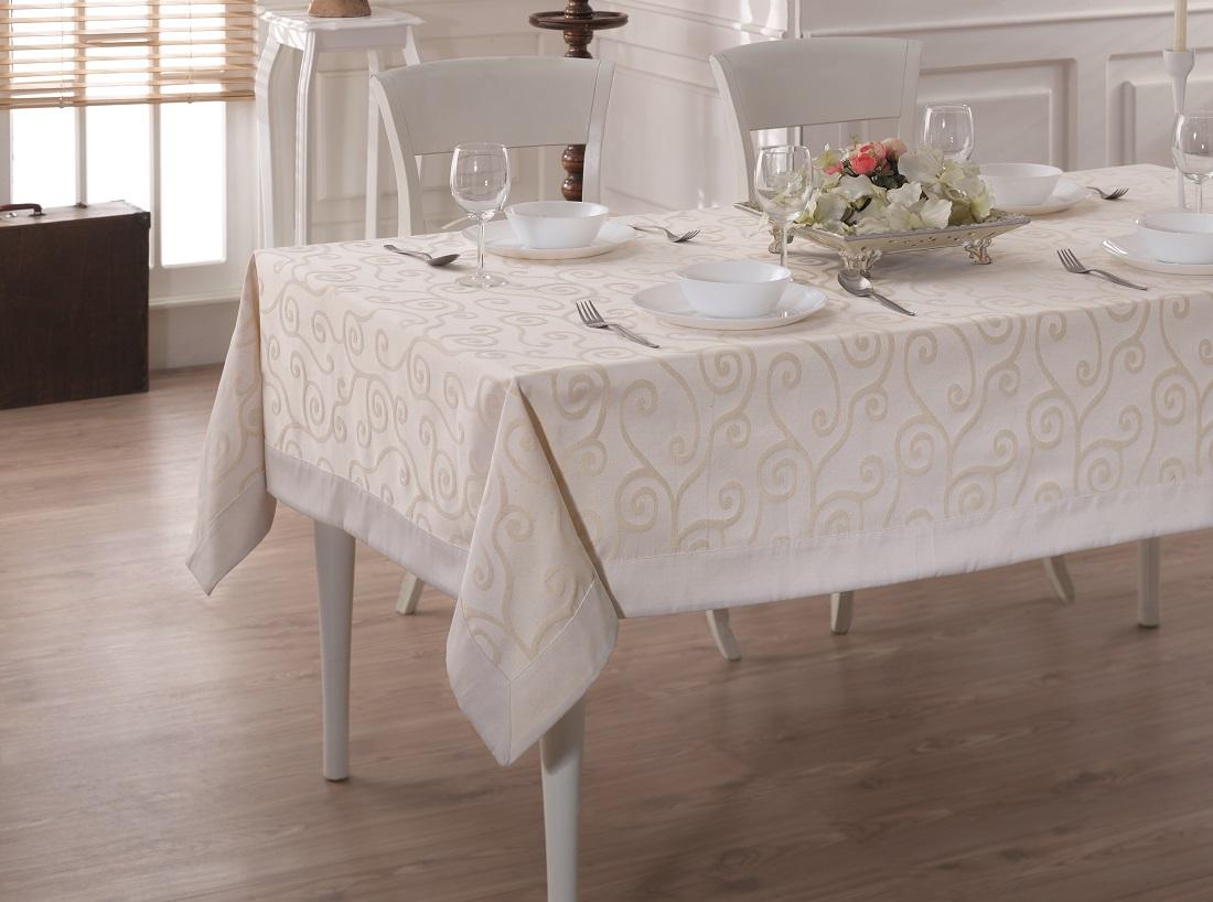 Купить Скатерти и салфетки Karna, Скатерть Linen V1 (160х260 см), Турция, Жаккард