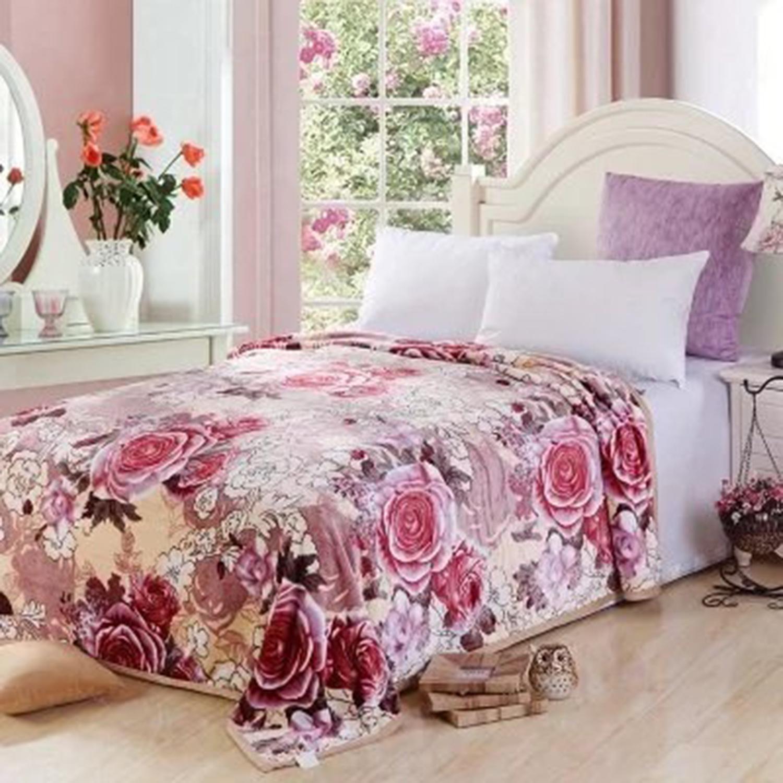 Купить Пледы и покрывала Tango, Плед Avelina (200х220 см), Китай, Бордовый, Розовый, Синтетическая фланель