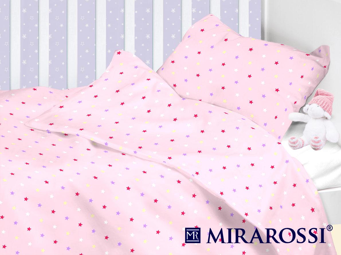 Купить Детское постельное белье MIRAROSSI, Детское Постельное белье Stelle Pink (110х140 см), Россия, Ранфорс