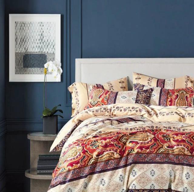 Купить Комплекты постельного белья Tango, Постельное белье Wilbur (2 сп. евро), Китай, Бордовый, Желтый, Красный, Хлопковый сатин