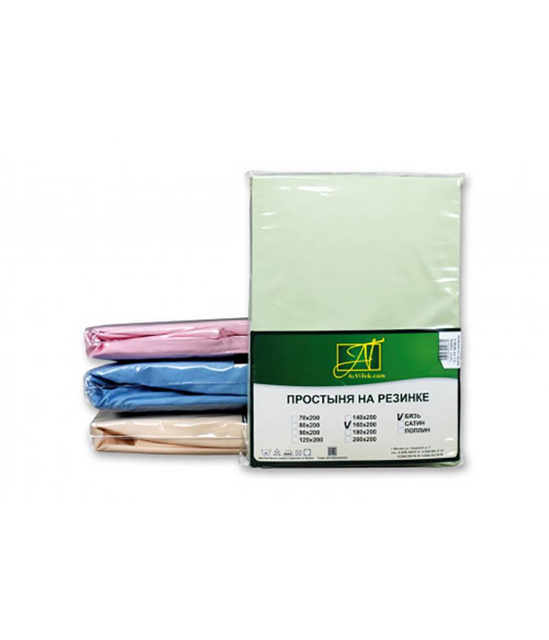 Купить Простыни AlViTek, Простыня на резинке Benjamina Цвет: Салатовый (160х200 см), Россия, Зеленый, Хлопковый сатин