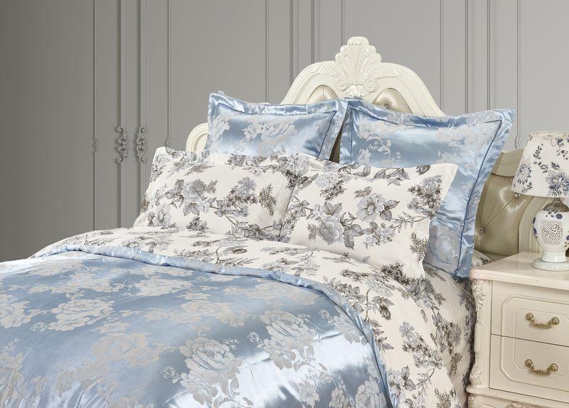 Купить Комплекты постельного белья KAZANOV.A, Постельное белье Санта-Мария Цвет: Белый, Голубой (1, 5 спал.), Китай, Голубой, Серый, Хлопковый сатин