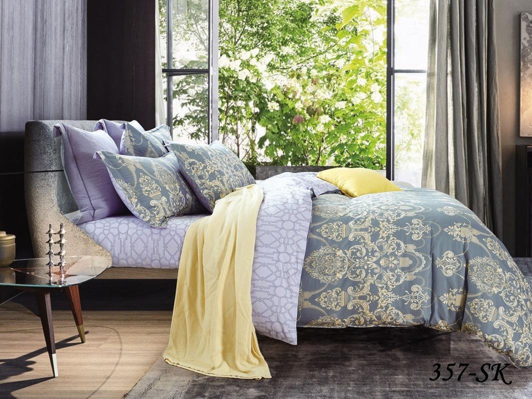 Купить Комплекты постельного белья Cleo, Постельное белье Fresko (2 сп. евро), Китай, Синий, Сиреневый, Хлопковый сатин