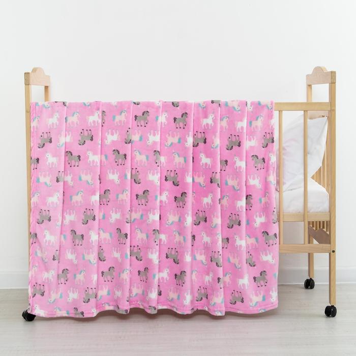 Купить Покрывала, подушки, одеяла для малышей Крошка Я, Детский плед Единороги Цвет: Розовый (130х155 см), Россия, Коралловый флис
