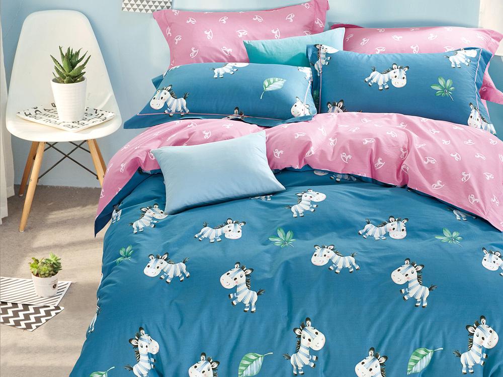 Купить Детское постельное белье Asabella, Детское Постельное белье Sharyn (160х220 см), Китай, Розовый, Синий, Хлопковый сатин