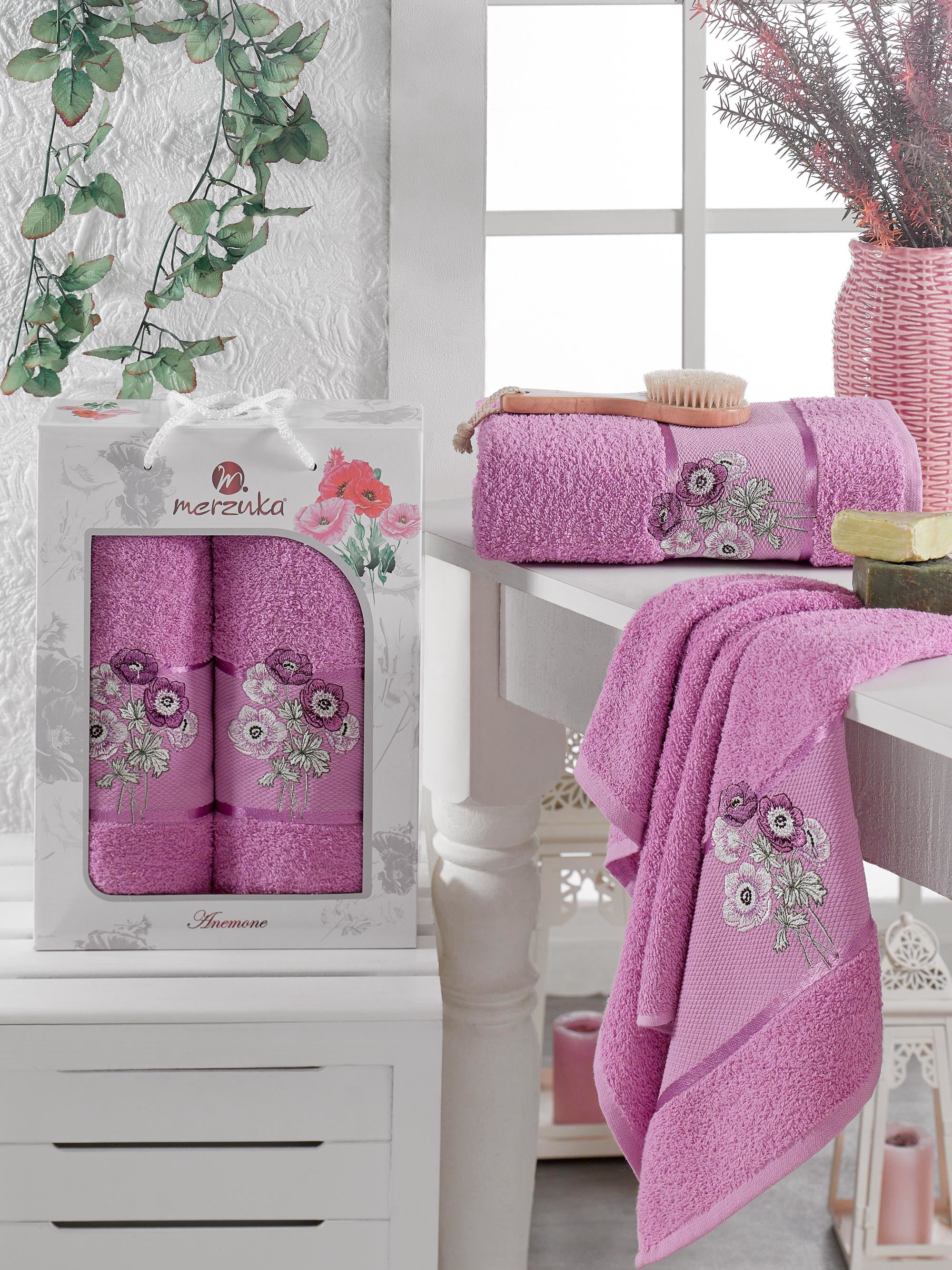 Полотенца Oran Merzuka Полотенце Anemone Цвет: Светло-Лиловый (50х80 см,70х130 см) полотенца oran merzuka полотенце sakura цвет светло лиловый набор