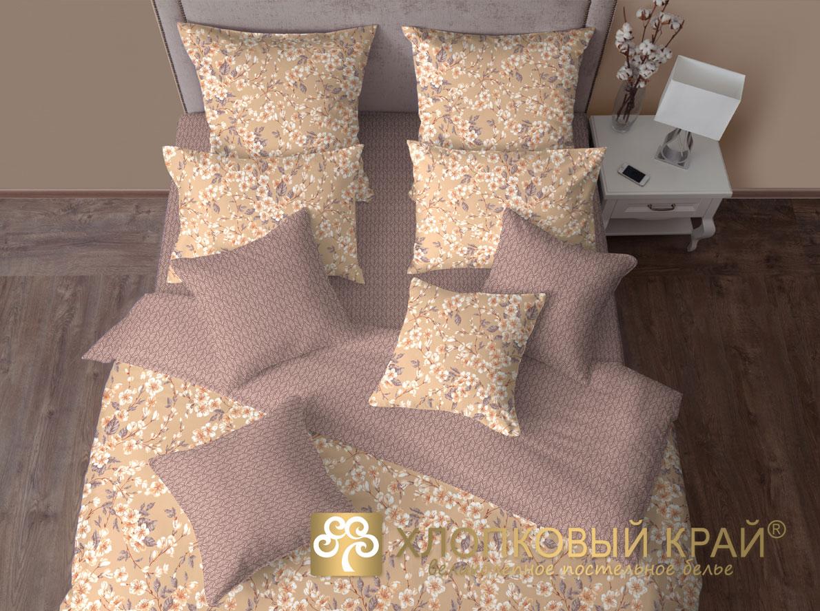 Купить Комплекты постельного белья Хлопковый Край, Постельное белье Окинава Тауп (семейное), Россия, Хлопковый сатин