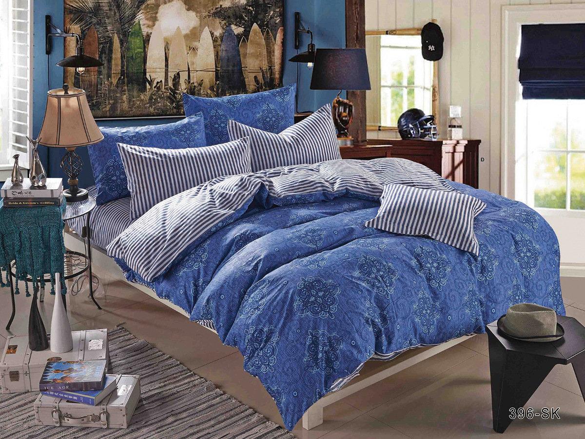Купить Комплекты постельного белья Cleo, Постельное белье Zara (2 сп. евро), Китай, Серый, Синий, Хлопковый сатин