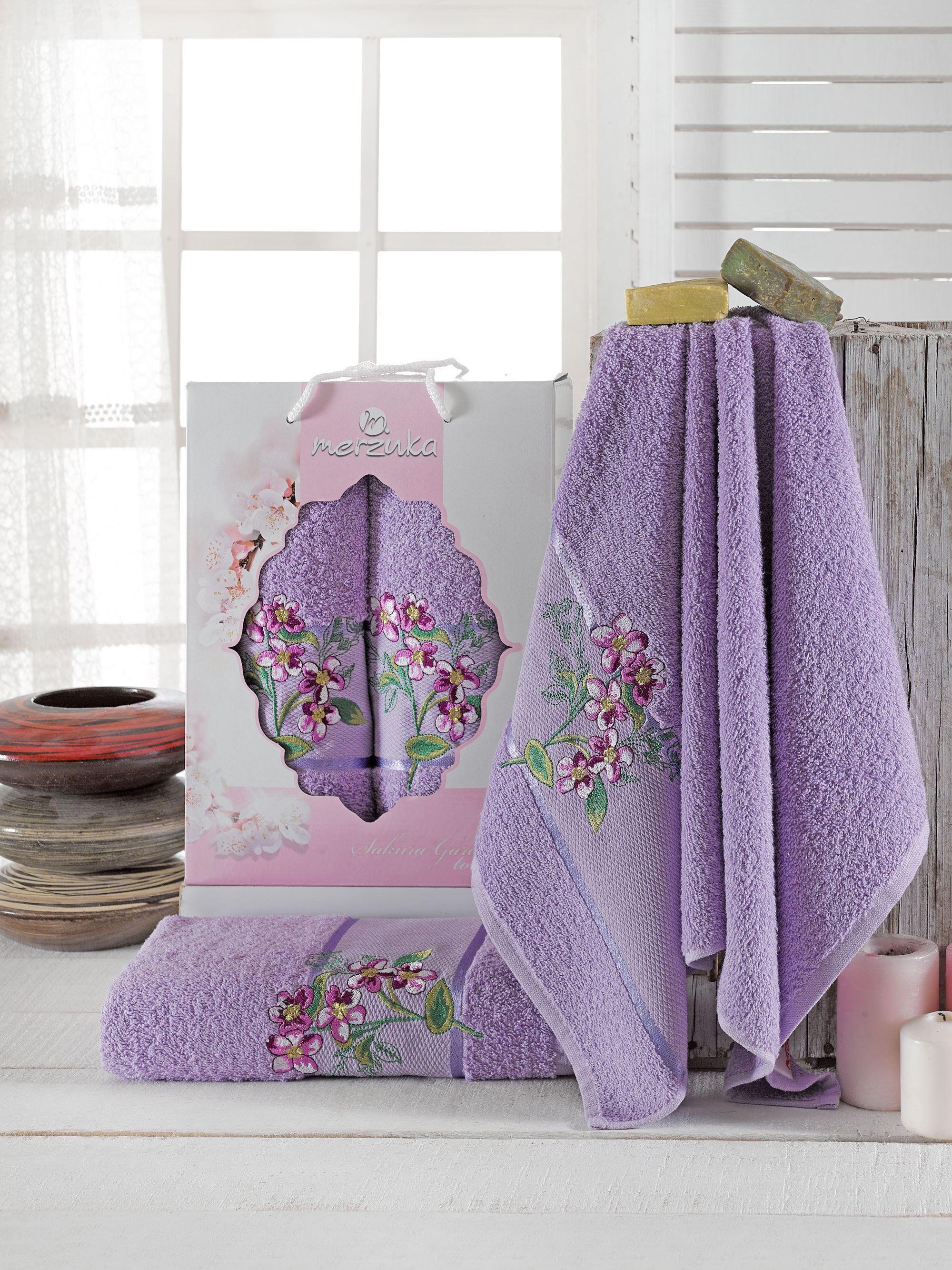 Полотенца Oran Merzuka Полотенце Sakura Garden Цвет: Лиловый (50х80 см,70х130 см) полотенца oran merzuka полотенце sakura цвет светло лиловый набор