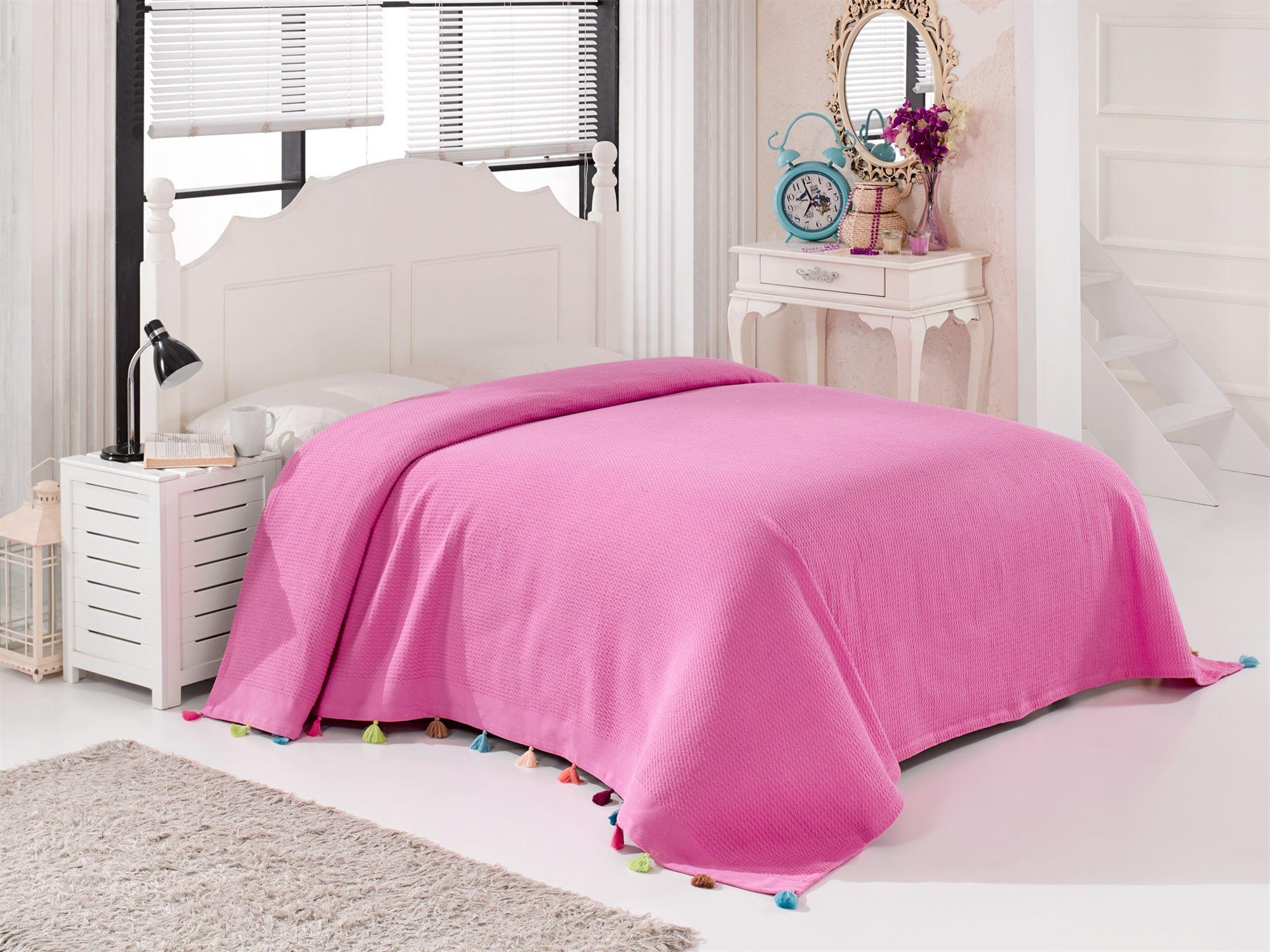 Купить Пледы и покрывала DO'n'CO, Покрывало Pop Цвет: Розовый (230х240 см), Турция, Пике из хлопка