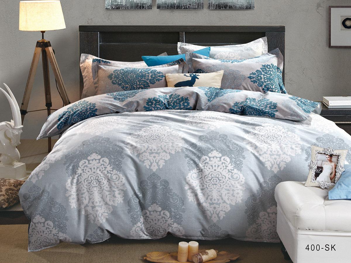 Купить Комплекты постельного белья Cleo, Постельное белье Mona (семейное), Китай, Голубой, Синий, Хлопковый сатин