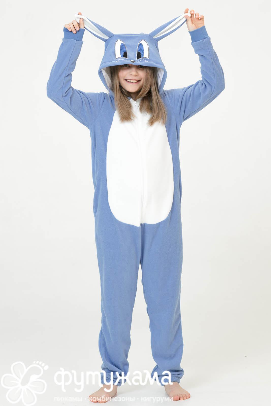 Детская пижама-кигуруми Зайчик Лапа Цвет: Голубой (4-6 лет) фото