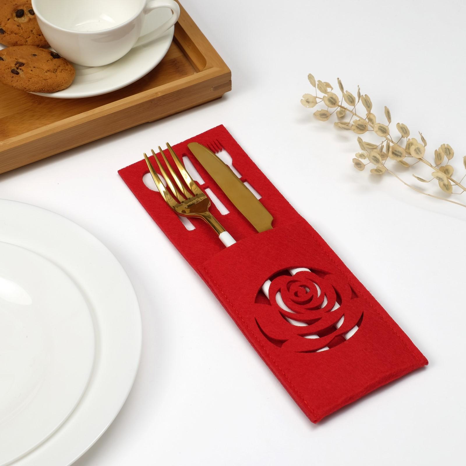 Салфетки Roza Цвет: Красный (9х25 см) Доляна dln608675