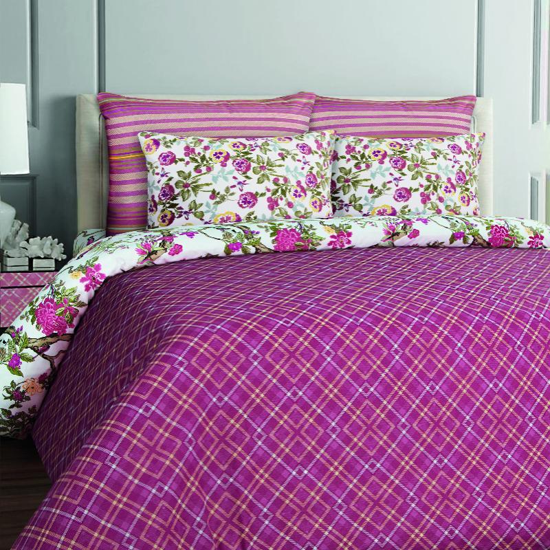 Купить Комплекты постельного белья Mona Liza, Постельное белье Cell Bordo (семейное), Россия, Фиолетовый, Бязь
