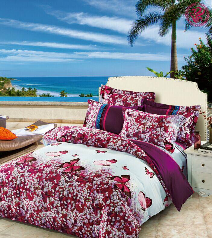 Купить Комплекты постельного белья Tango, Постельное белье Mabella (1, 5 спал.), Китай, Бордовый, Голубой, Хлопковый сатин