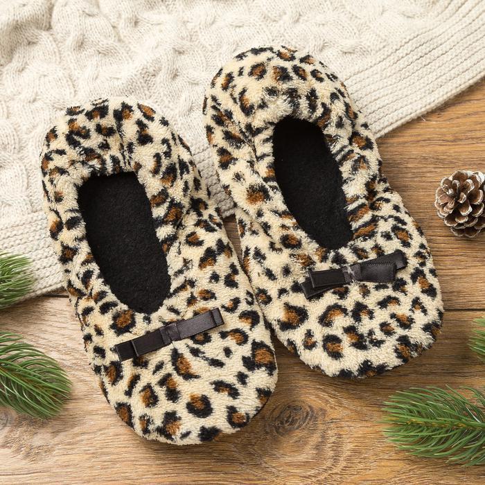 Носки-тапочки Leopard Цвет: Бежевый, Черный (35-37) MINAKU mak552600