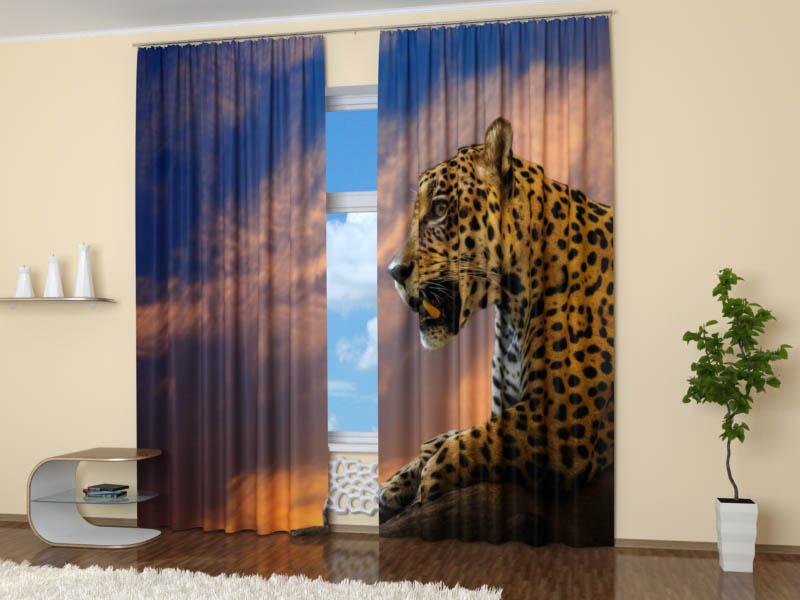 Шторы StickButik Фотошторы Опасный Леопард