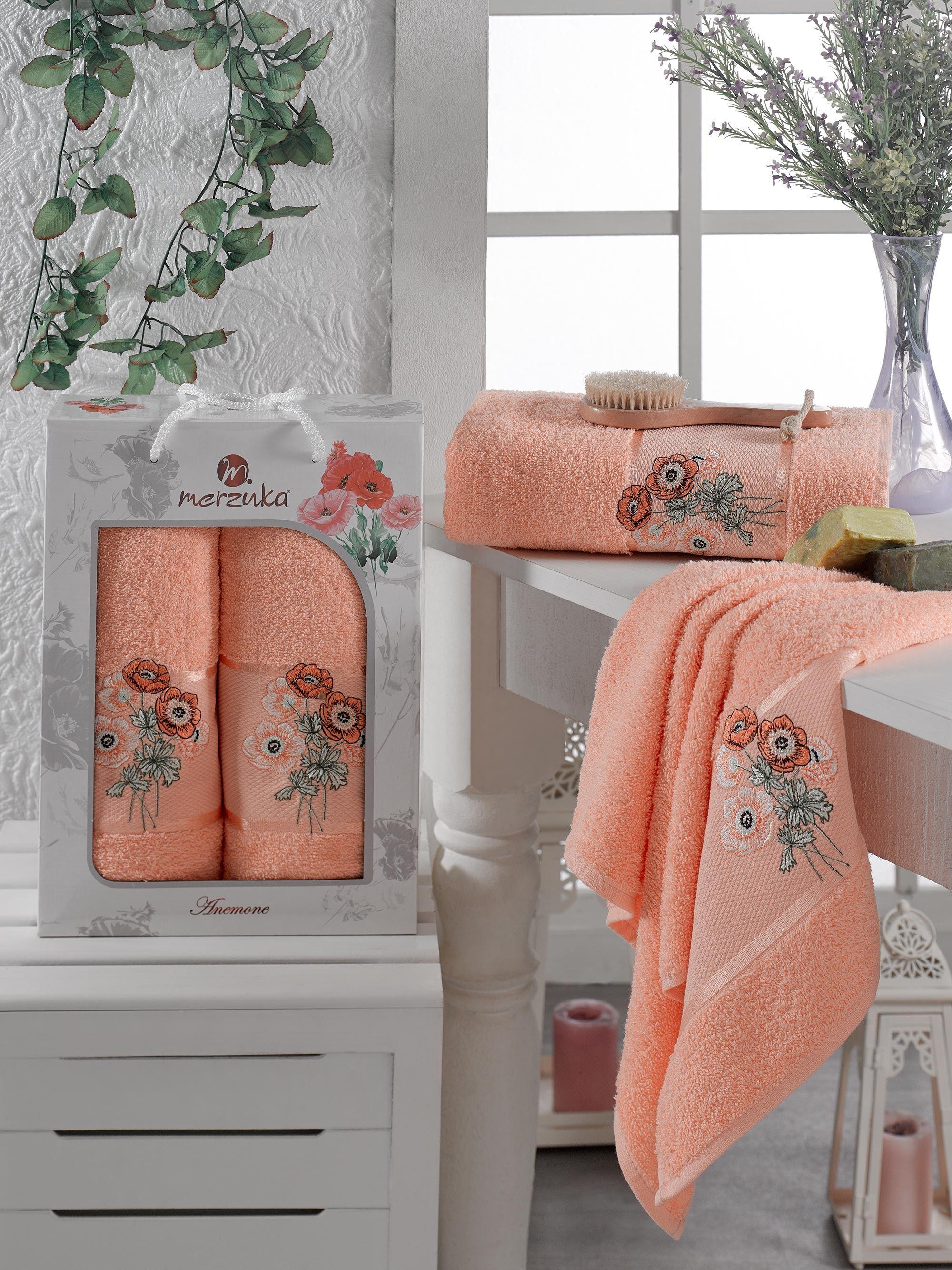 Полотенца Oran Merzuka Полотенце Anemone Цвет: Оранжевый (50х80 см,70х130 см) оранжевый prime м 50х90 70х130 в коробке набор полотенец фиеста