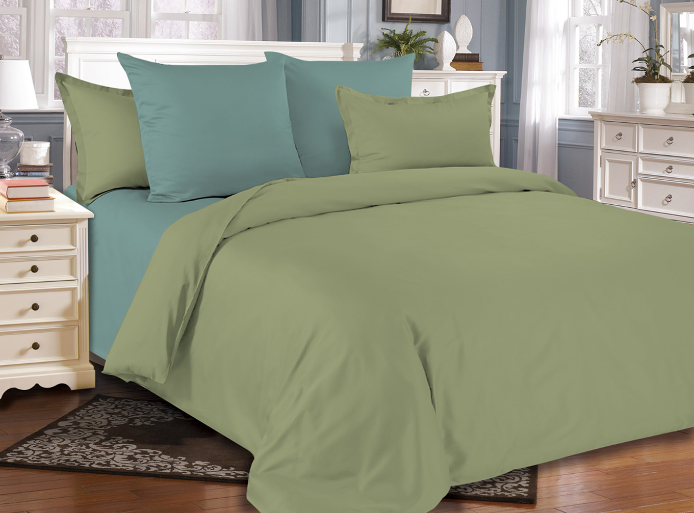 Купить Комплекты постельного белья Amore Mio, Постельное белье Emerald (2 сп. евро), Китай, Синтетический сатин