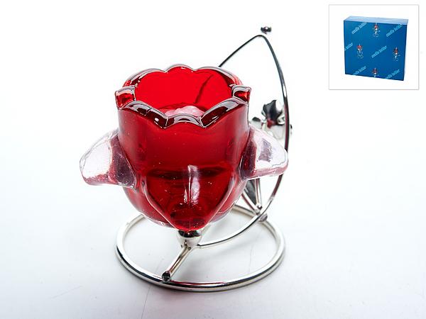 Декоративные свечи ENS GROUP Подсвечник Красный Цветок (8х10х11 см)