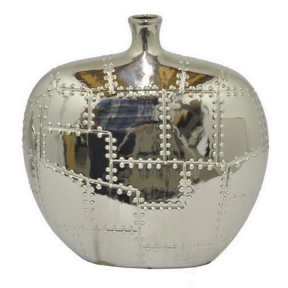 Купить Вазы Home Philosophy, Ваза Armada Цвет: Серебряный (9х31х32 см), Китай, Серый, Керамика