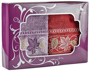 где купить Полотенца Primavelle Полотенце Lea Цвет: Бордовый+Лиловый (50х90 см - 2 шт ) по лучшей цене
