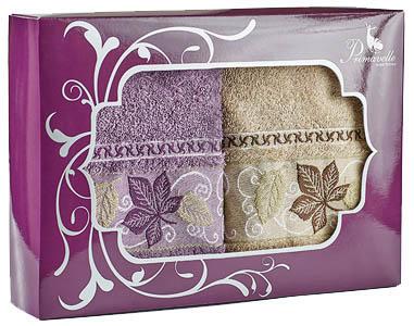 где купить Полотенца Primavelle Полотенце Lea Цвет: Лиловый+Светло-Коричневый (50х90 см - 2 шт ) по лучшей цене