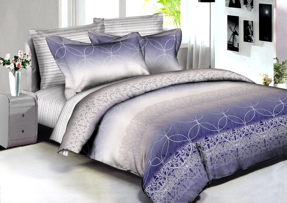 Купить Комплекты постельного белья Amore Mio, Постельное белье Singapore (2 сп. евро), Китай, Фиолетовый, Хлопковый сатин