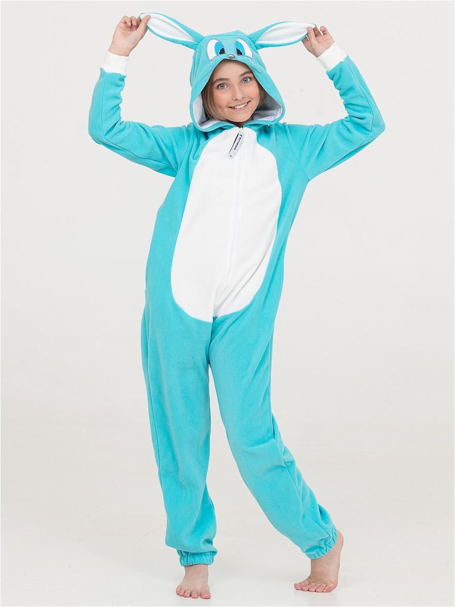 Детская пижама-кигуруми Зайчик Лапа Цвет: Бирюзовый (8-10 лет) фото