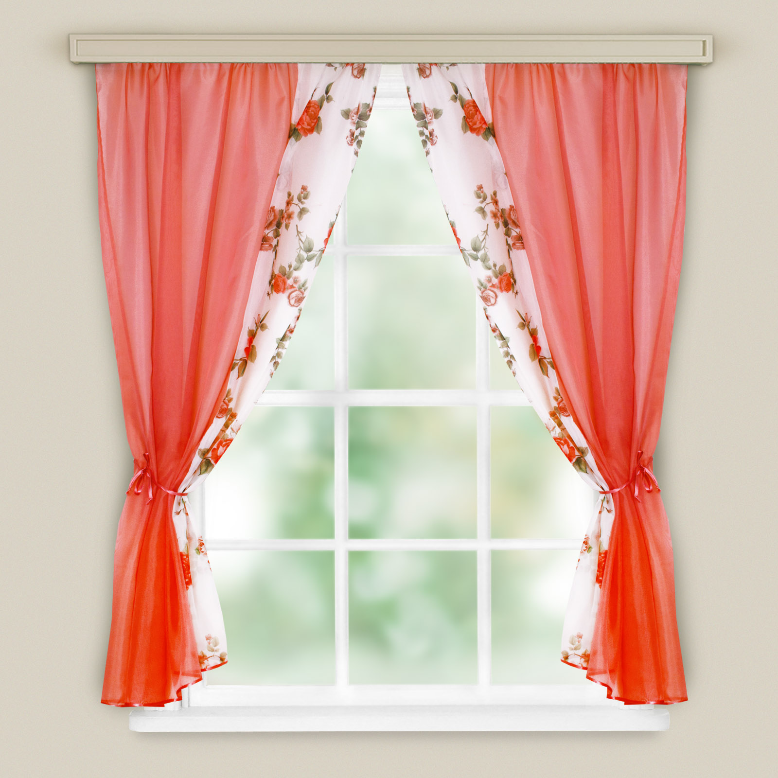 Купить Шторы Witerra, Классические шторы Ария Цвет: Красный, Россия, Вуаль