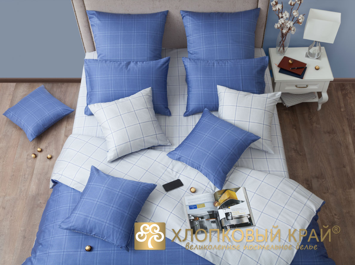 Комплекты постельного белья Хлопковый Край Постельное белье Генри Сапфир (1,5 спал.)
