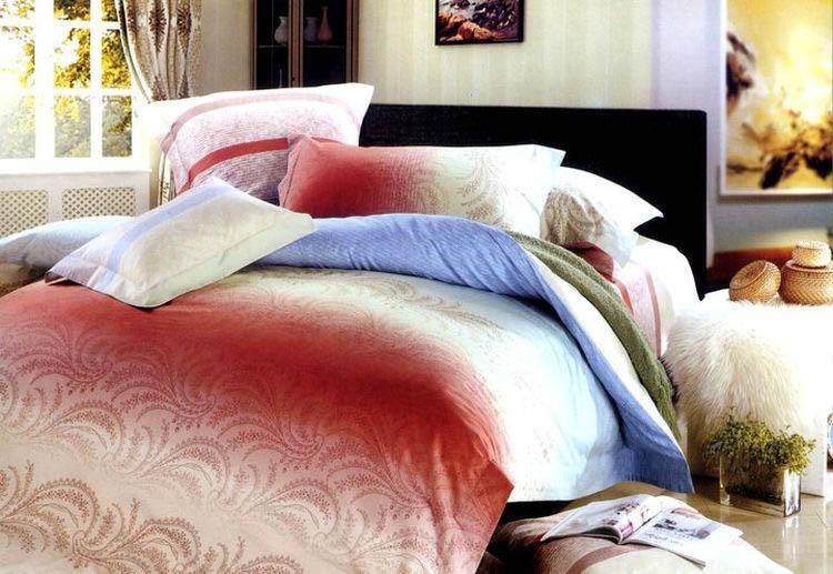 Купить Комплекты постельного белья Tango, Постельное бельеBenton(2 спал.), Китай, Голубой, Красный, Хлопковый сатин