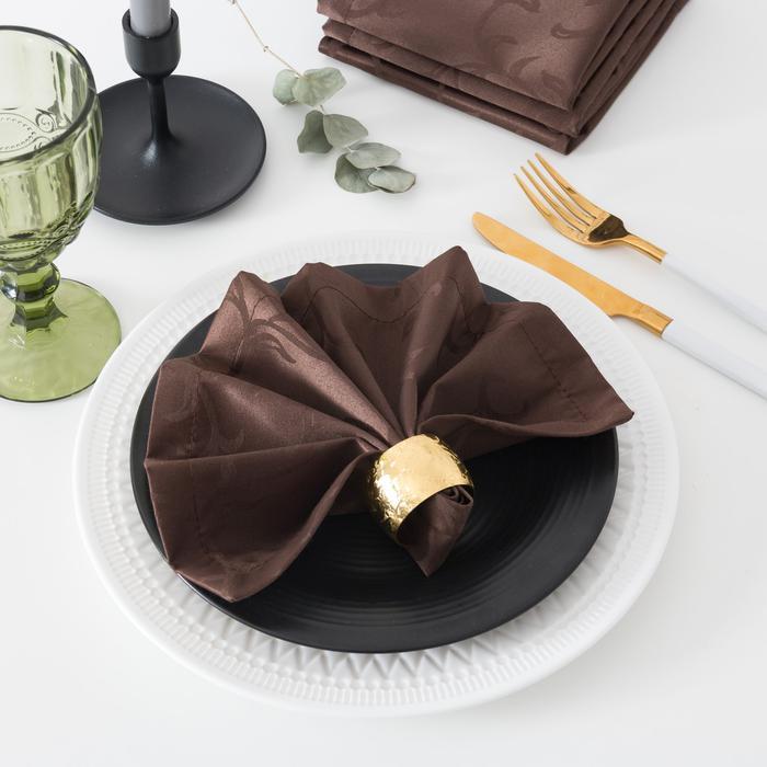 Салфетки Вензель Цвет: Шоколад (32х32 см - 4 шт) ЭТЕЛЬ tel707926