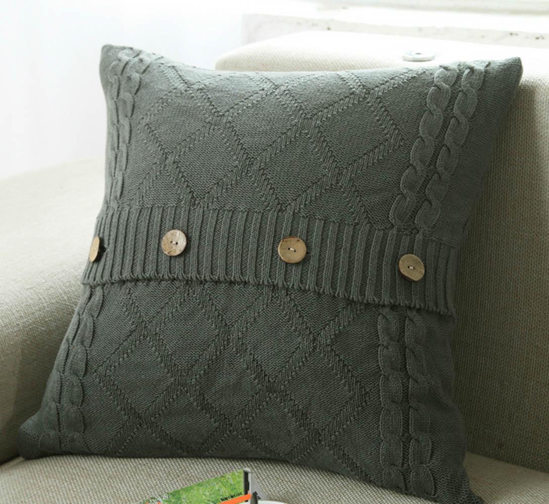 Купить Декоративные подушки Tango, Декоративная наволочка Jerred (45х45), Китай, Зеленый, Вязаный хлопок