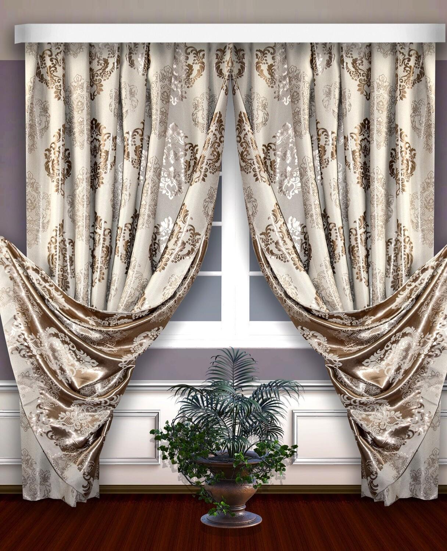 Классические шторы Michaela цвет: бежевый,золотой