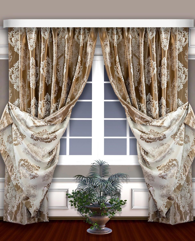 Классические шторы Jenifer цвет: золотой, бежевый