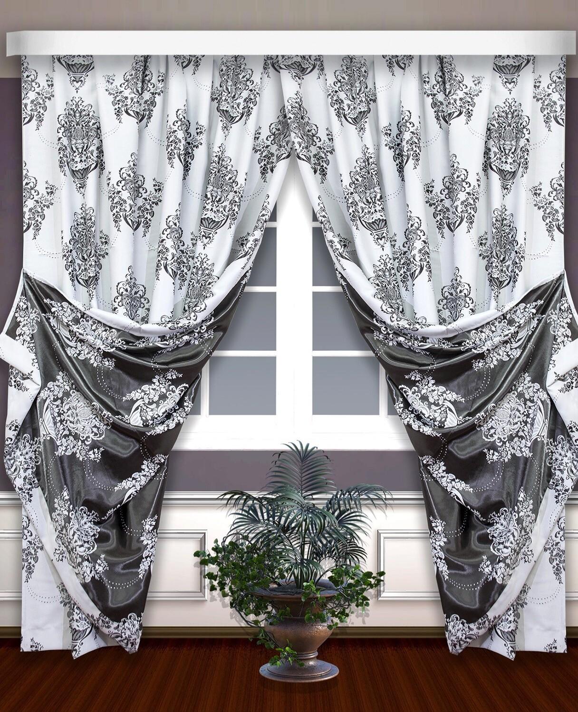 Классические шторы Jeannie цвет: белый, графит