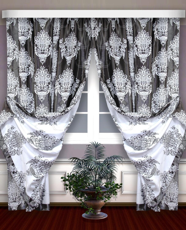 Классические шторы Blaine цвет: графит, белый