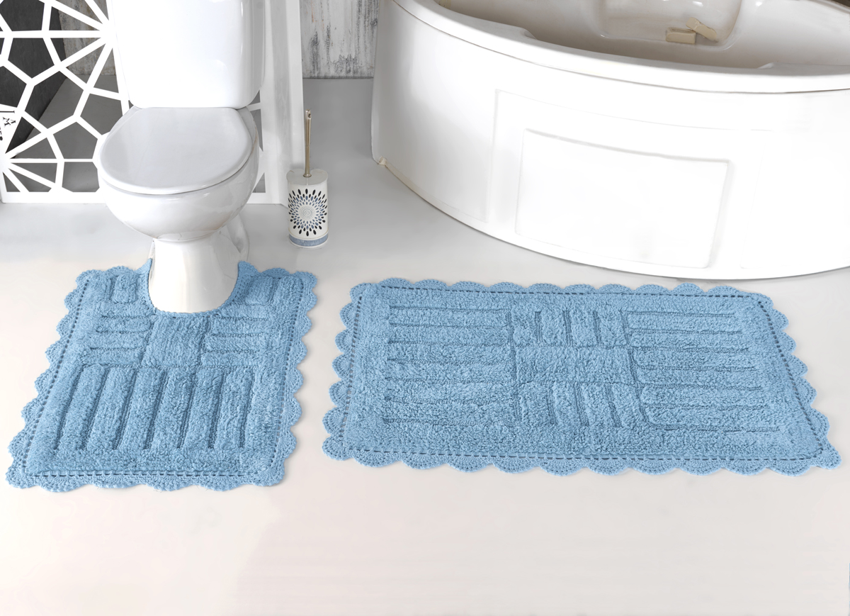 Коврики для ванной и туалета Modalin Коврик для ванной Ancor Цвет: Светло-Голубой (50х70 см,60х100 см) коврик для ванной комнаты lounge 50х70 см зелёный