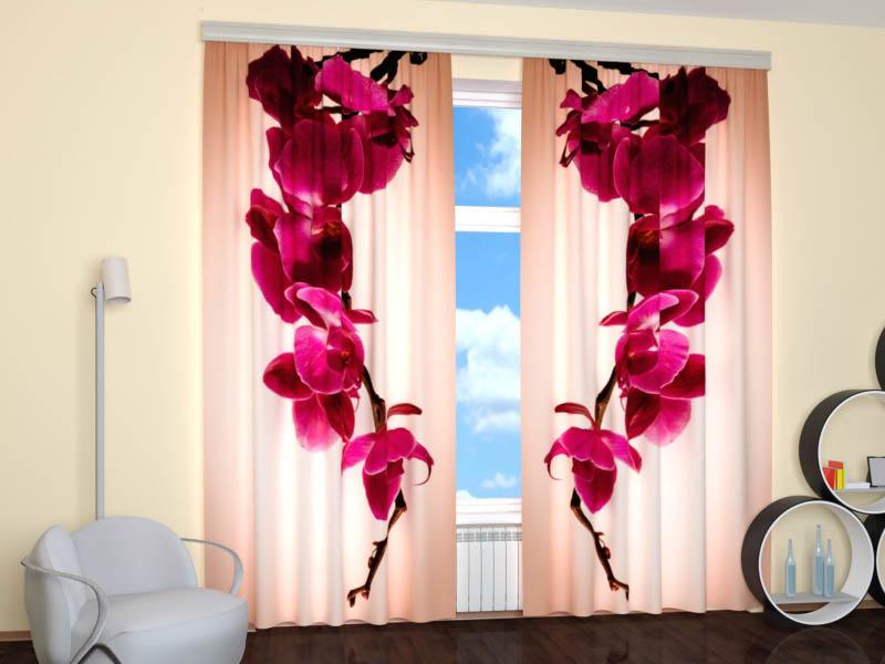 Шторы StickButik Фотошторы Пурпурная Орхидея