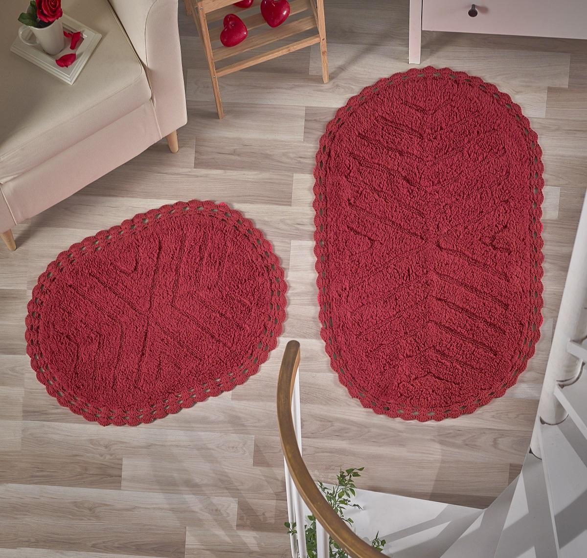 Коврики для ванной и туалета Modalin Коврик для ванной Cross Цвет: Красный (50х70 см,60х100 см) коврик для ванной white fox узор цвет красный 50 см х 70 см
