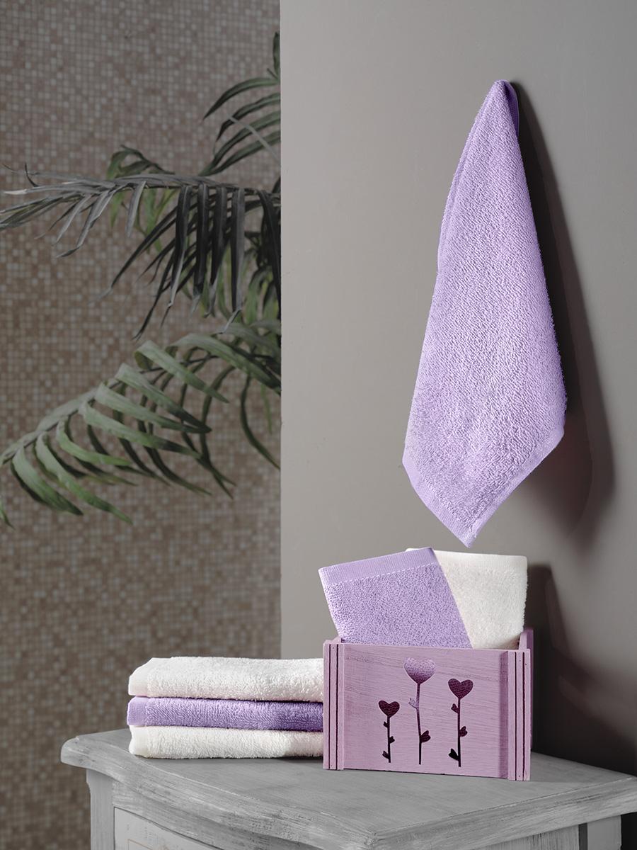 Купить Полотенца Karna, Полотенце Flori Цвет: Фиолетовый (30х30 см - 6 шт), Турция, Махра